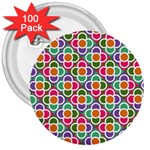Modernist Floral Tiles 3  Buttons (100 pack)  Front