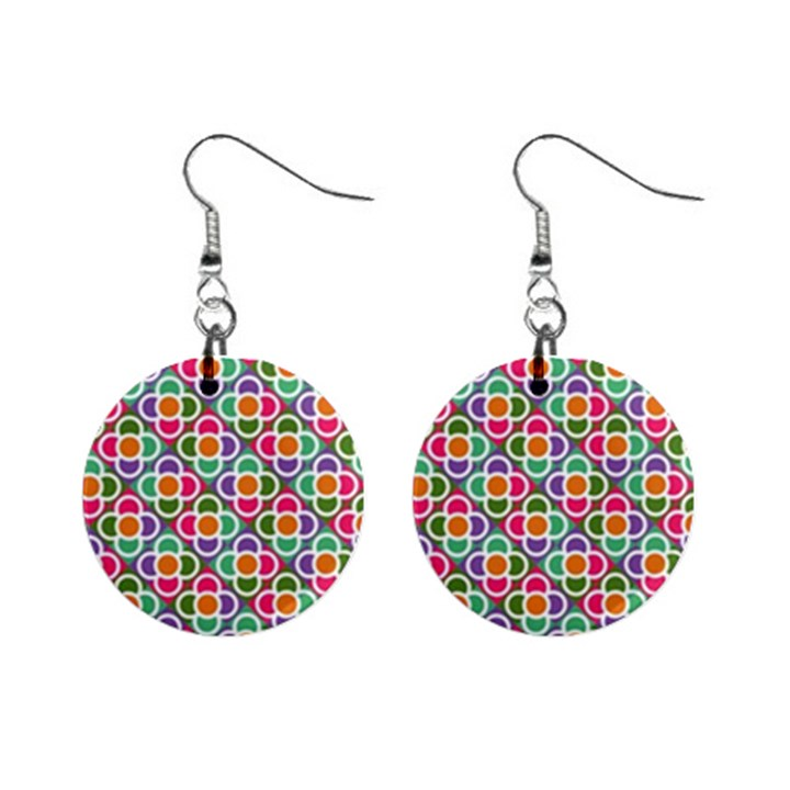 Modernist Floral Tiles Mini Button Earrings
