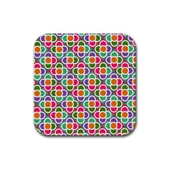 Modernist Floral Tiles Rubber Coaster (Square)