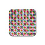 Modernist Floral Tiles Rubber Coaster (Square)  Front