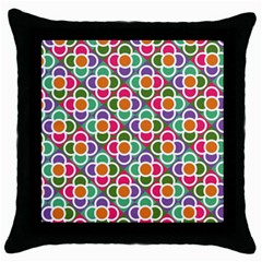 Modernist Floral Tiles Throw Pillow Case (black)