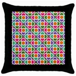 Modernist Floral Tiles Throw Pillow Case (Black) Front