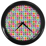 Modernist Floral Tiles Wall Clocks (Black) Front