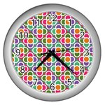 Modernist Floral Tiles Wall Clocks (Silver)  Front