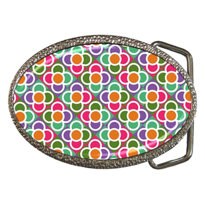 Modernist Floral Tiles Belt Buckles