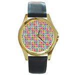 Modernist Floral Tiles Round Gold Metal Watch Front