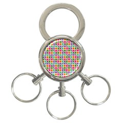 Modernist Floral Tiles 3 Ring Key Chains