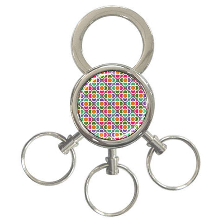 Modernist Floral Tiles 3-Ring Key Chains
