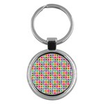 Modernist Floral Tiles Key Chains (Round)  Front