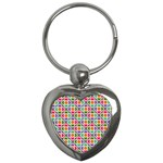 Modernist Floral Tiles Key Chains (Heart)  Front