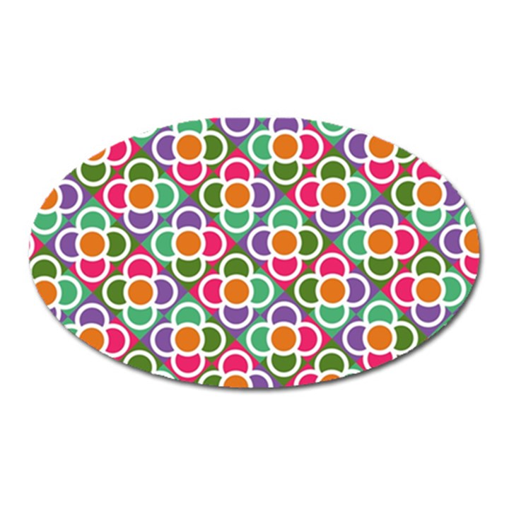 Modernist Floral Tiles Oval Magnet