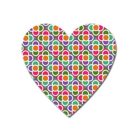 Modernist Floral Tiles Heart Magnet