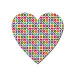 Modernist Floral Tiles Heart Magnet Front