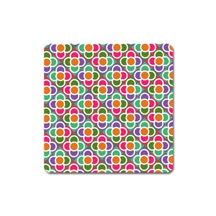 Modernist Floral Tiles Square Magnet