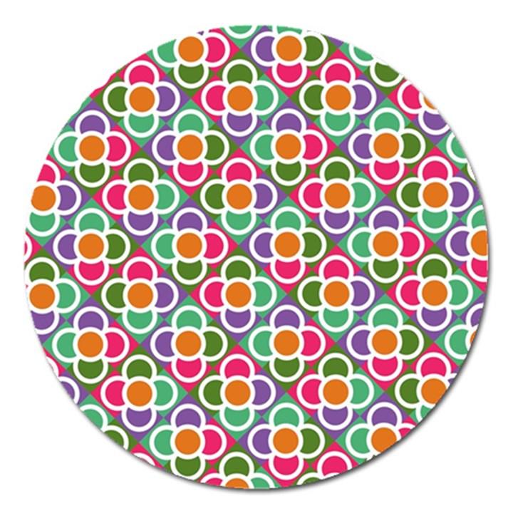 Modernist Floral Tiles Magnet 5  (Round)