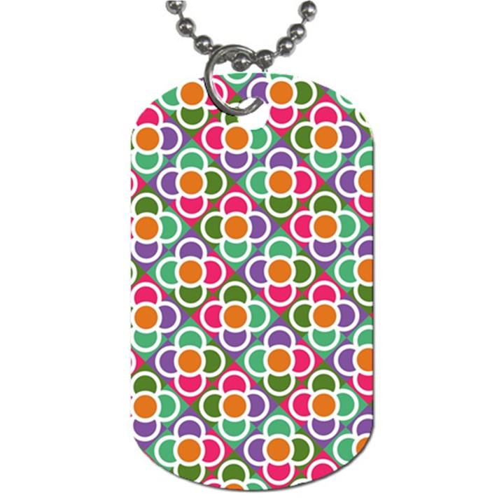 Modernist Floral Tiles Dog Tag (One Side)