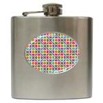 Modernist Floral Tiles Hip Flask (6 oz) Front