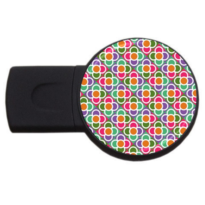 Modernist Floral Tiles USB Flash Drive Round (2 GB)