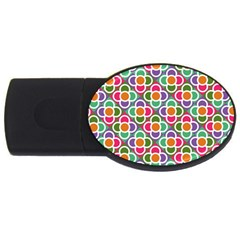 Modernist Floral Tiles USB Flash Drive Oval (1 GB)