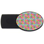 Modernist Floral Tiles USB Flash Drive Oval (1 GB)  Front