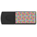 Modernist Floral Tiles USB Flash Drive Rectangular (1 GB)  Front