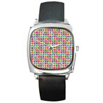 Modernist Floral Tiles Square Metal Watch Front