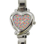 Modernist Floral Tiles Heart Italian Charm Watch Front