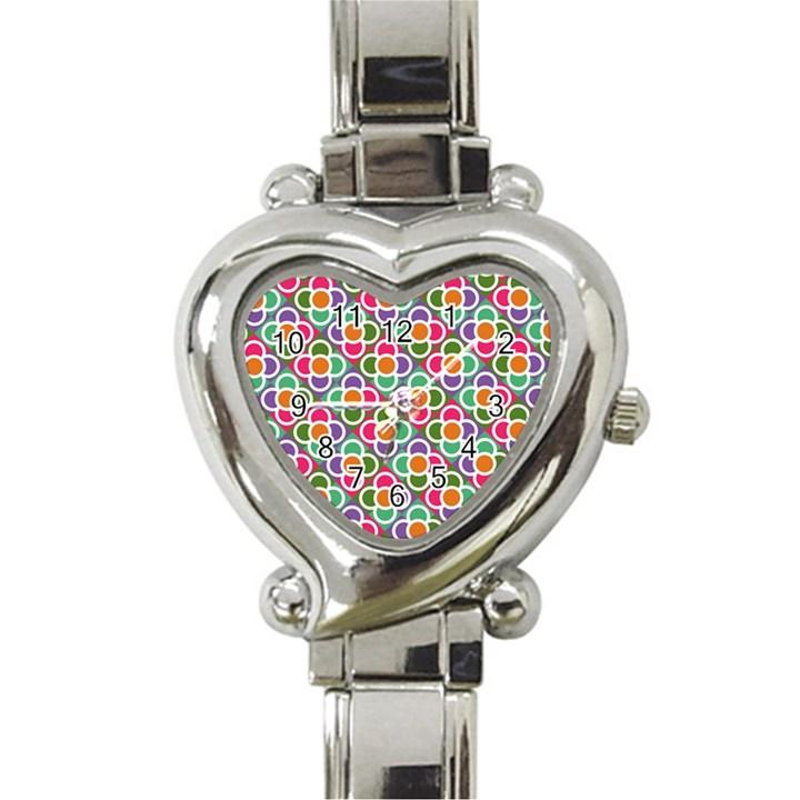 Modernist Floral Tiles Heart Italian Charm Watch