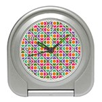 Modernist Floral Tiles Travel Alarm Clocks Front