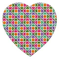 Modernist Floral Tiles Jigsaw Puzzle (Heart)