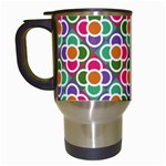 Modernist Floral Tiles Travel Mugs (White) Left