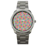 Modernist Floral Tiles Sport Metal Watch Front