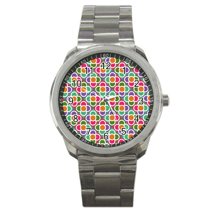 Modernist Floral Tiles Sport Metal Watch