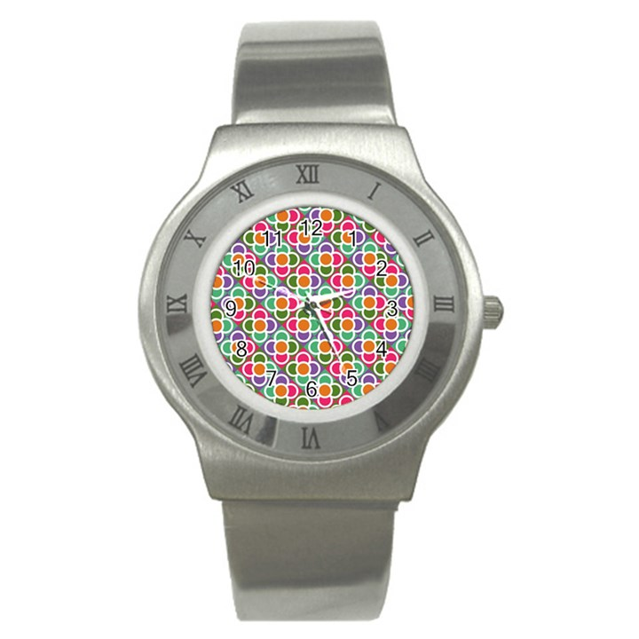 Modernist Floral Tiles Stainless Steel Watch