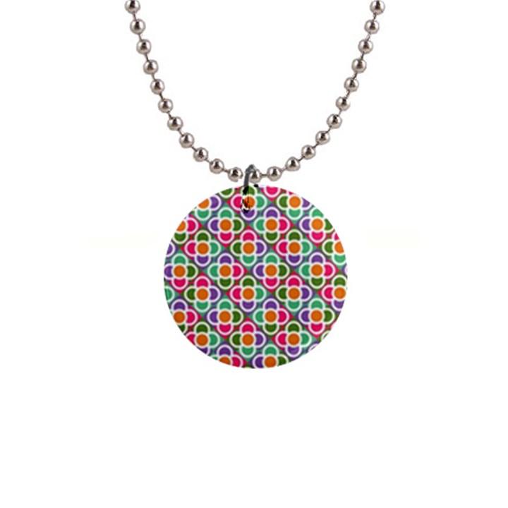 Modernist Floral Tiles Button Necklaces
