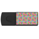 Modernist Floral Tiles USB Flash Drive Rectangular (4 GB)  Front