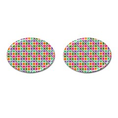 Modernist Floral Tiles Cufflinks (Oval)