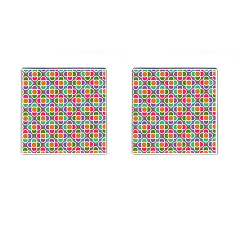 Modernist Floral Tiles Cufflinks (Square)
