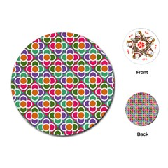 Modernist Floral Tiles Playing Cards (Round)