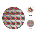Modernist Floral Tiles Playing Cards (Round)  Front