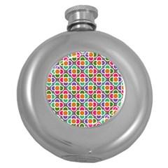 Modernist Floral Tiles Round Hip Flask (5 Oz)