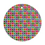 Modernist Floral Tiles Round Ornament (Two Sides)  Front