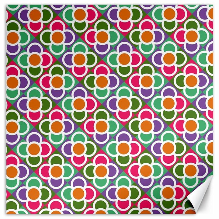 Modernist Floral Tiles Canvas 12  x 12