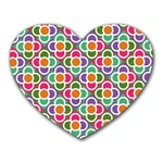 Modernist Floral Tiles Heart Mousepads Front