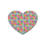 Modernist Floral Tiles Heart Coaster (4 pack)  Front