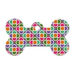Modernist Floral Tiles Dog Tag Bone (Two Sides)