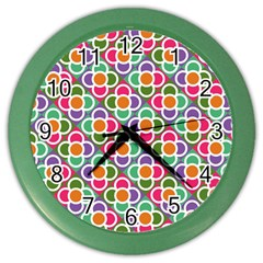 Modernist Floral Tiles Color Wall Clocks