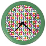 Modernist Floral Tiles Color Wall Clocks Front