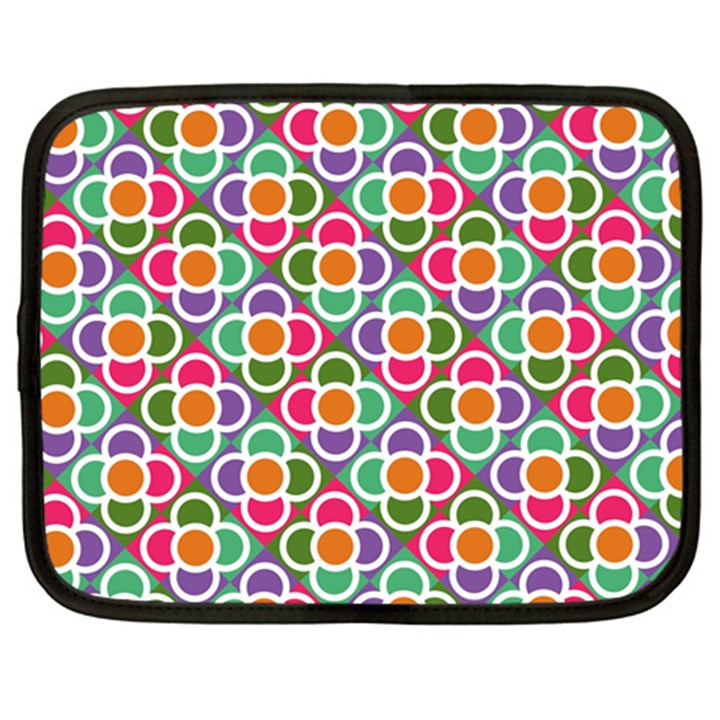 Modernist Floral Tiles Netbook Case (Large)