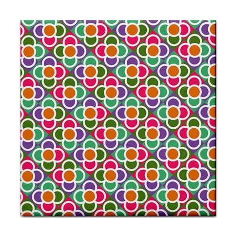 Modernist Floral Tiles Face Towel